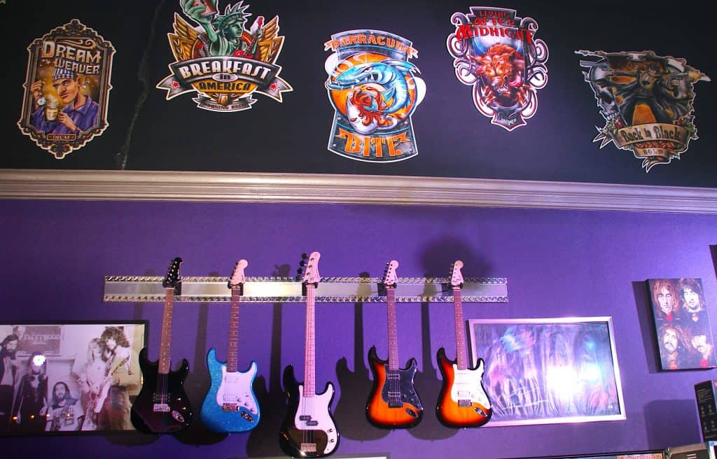 Classic Rock guitars and signs
