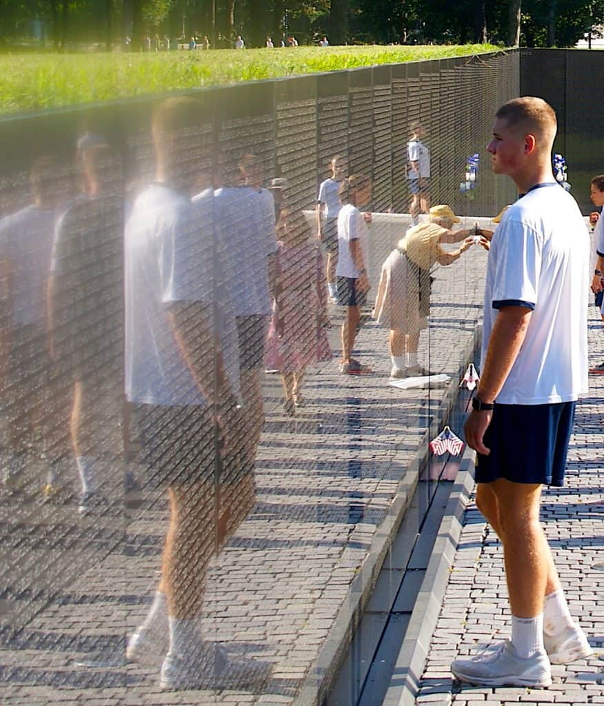 Navy Cadet at the Vietnam Wall