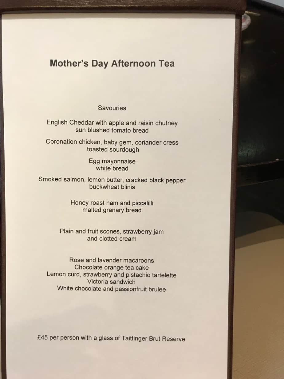Afternoon Tea Menu The Arch London