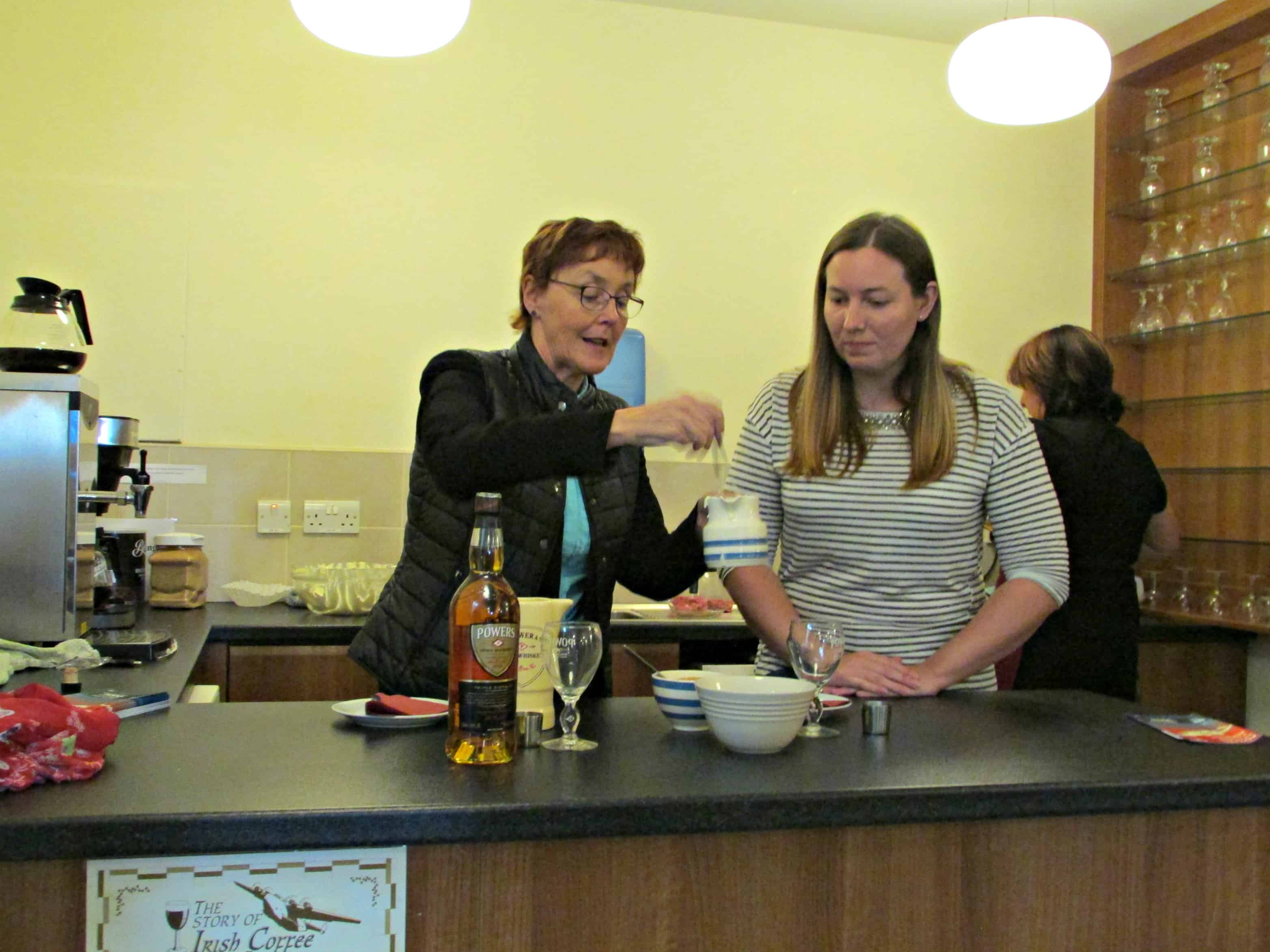 Helen Demonstrating How to Make Irish Coffee