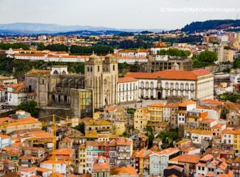 A View of Porto Cathedral and Part of the Old Quarter Seen from the Top of the Clerigos Tower on Porto Walking Tour