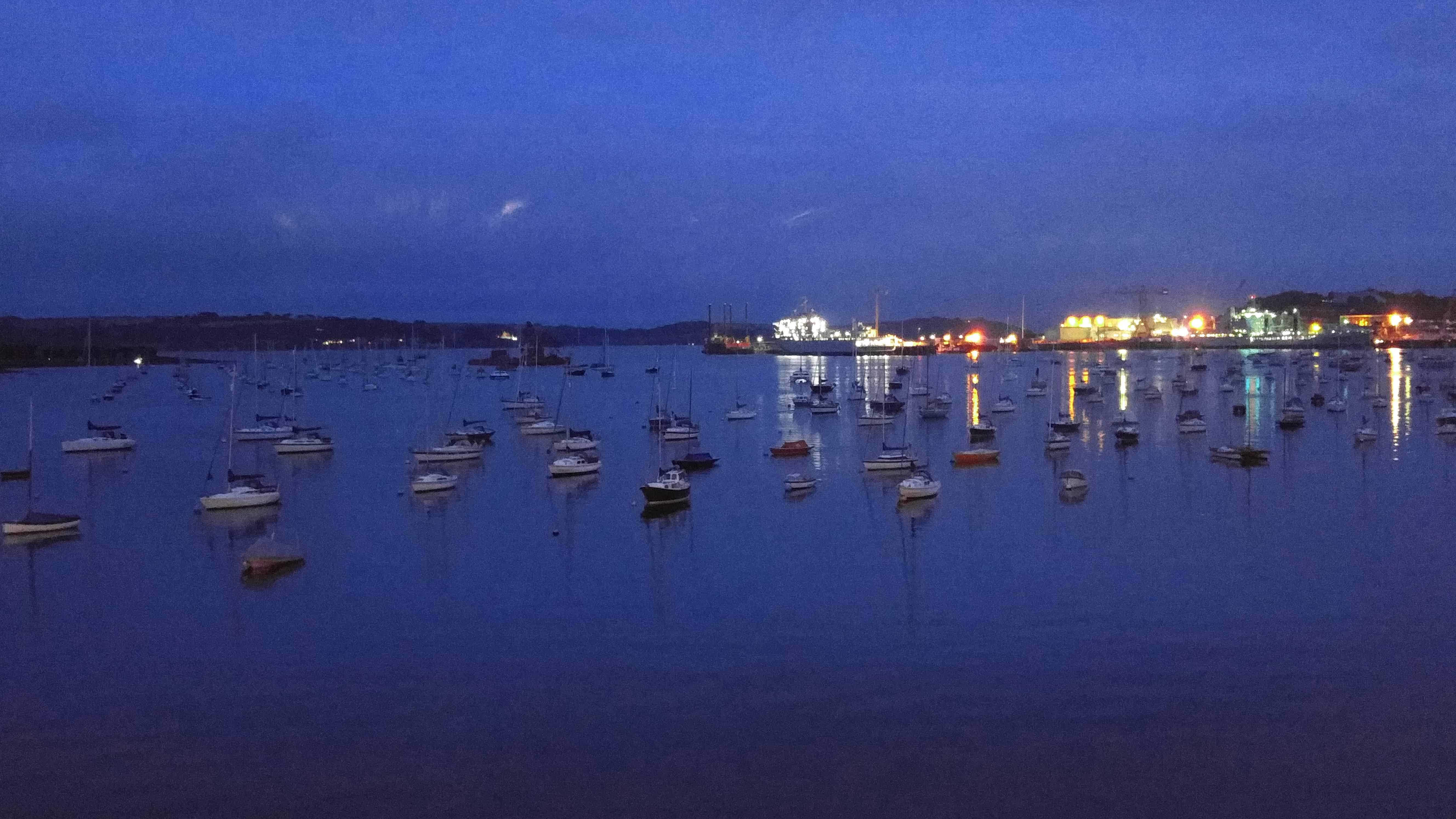 Harbor View at Night from The Greenbank in Falmouth