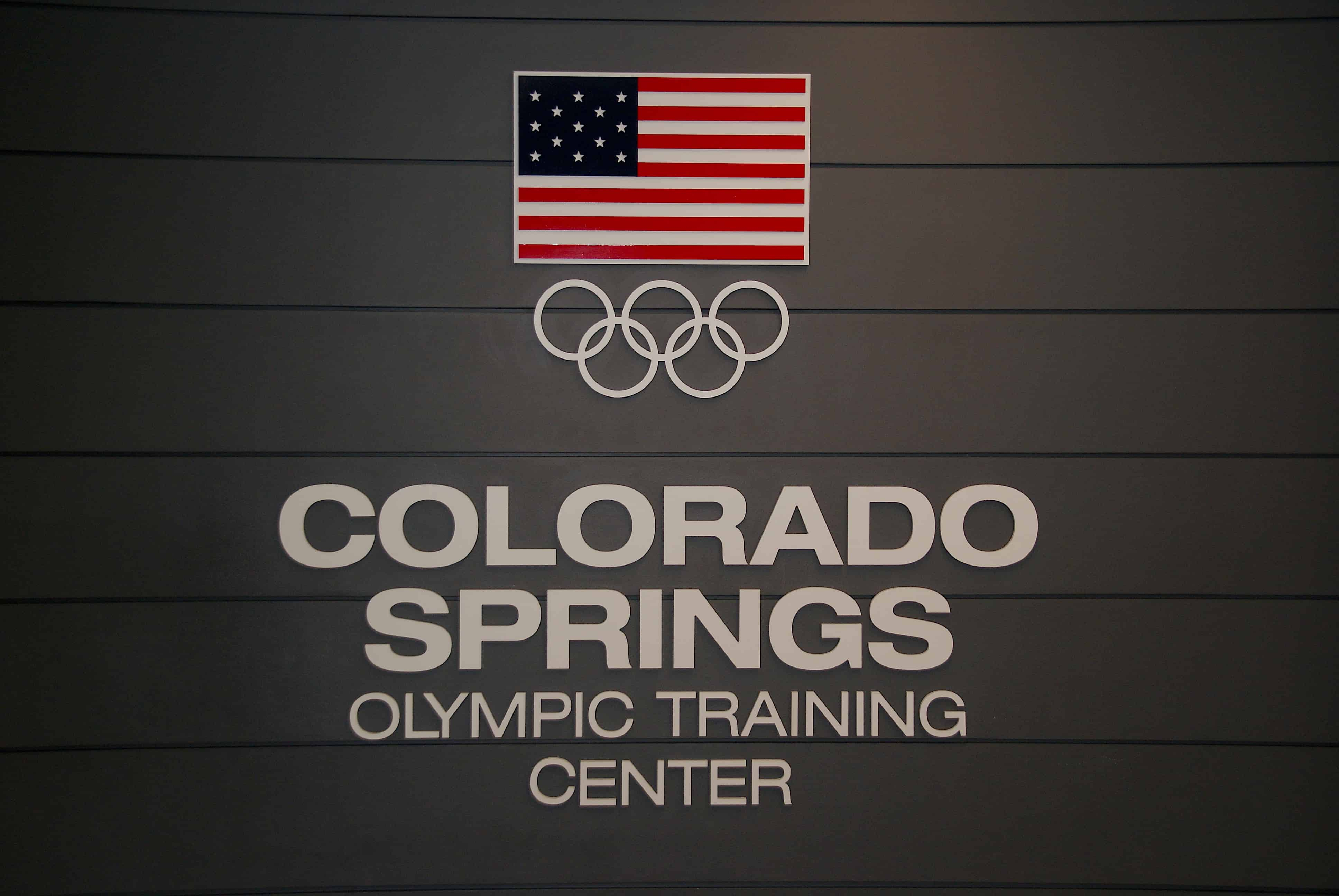 Colorado Springs Olympic Training Center Entrance Sign.