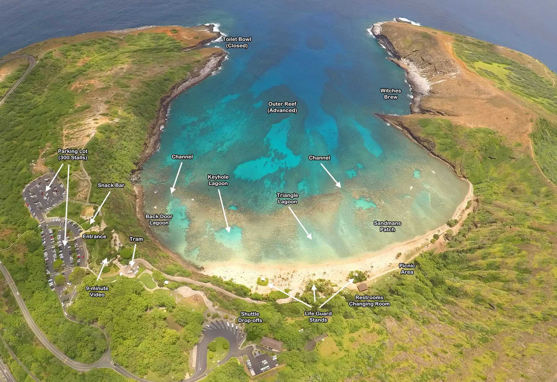 Overhead Map of Hanauma Bay